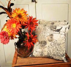 Two Postage Stamp Pillows 14x14 Paris Script Decorative Accent Pillows