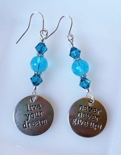 Ocean Blue Glass & Swarovski Crystal Beaded Dangle Earrings w/Silvertone Dreams Charms; Blue and Silver Boho Dogtag Earrings by CrystalCofferDesigns on Etsy