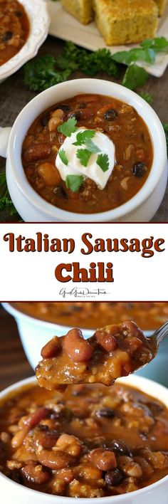Italian Sausage Chili has delicious flavor, is loaded with sausage, ground . - food -This Italian Sausage Chili has delicious flavor, is loaded with sausage, ground . Crockpot Dessert Recipes, Bean Recipes, Sausage Recipes, Chili Recipes, Slow Cooker Recipes, Soup Recipes, Dinner Recipes, Cooking Recipes, Dinner Ideas