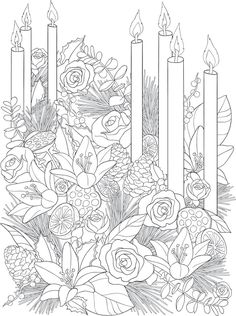 Willkommen bei Dover Publications – Color pages - Malvorlagen Mandala Free Adult Coloring, Adult Coloring Book Pages, Cute Coloring Pages, Printable Coloring Pages, Coloring Books, Coloring Sheets, Christmas Colors, Christmas Art, Christmas Scenes