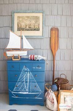 handpainted maritime blueprint dresser, painted furniture