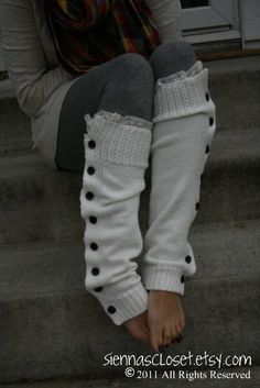 The Miss Molly creme de creme button down legwarmers with ivory knit lace by GraceandLaceCo on Etsy