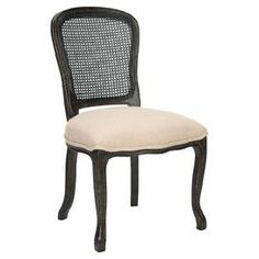 """Perfect around the dining table or pulled up to your writing desk, this timeless side chair showcases a woven back and linen-upholstered seat.    Product: Set of 2 chairs    Construction Material: Solid oak and linen    Color: Antique black     Features:   Woven back    Flared legs      Dimensions: 38.2"""" H x 19.9"""" W x 24.6"""" D"""