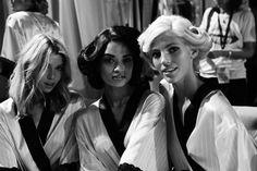 Stella Maxwell, Shanina Shaik, and Devon Windsor backstage, VSFS 2014