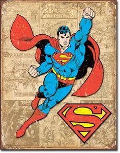 Superman Weathered Panels Distressed Retro Vintage Tin Sign - comics for mom dresses Superman Comic, Logo Superman, Superman Action Comics, Superman Poster, Superhero Poster, Comic Books Art, Comic Art, Desenhos Hanna Barbera, Superhero Boys Room