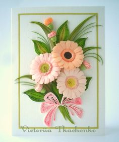 Delicate gerbera flowers in pastel colors - Quilling Card - Anniversary quilling Card - Birthday quilling card - Love quilling card
