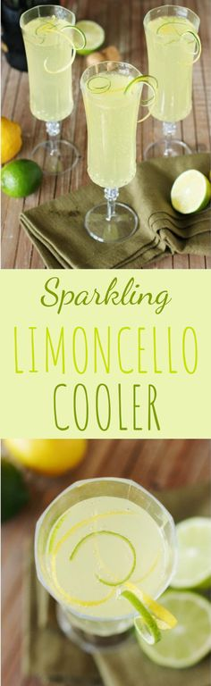 Limoncello Cooler ~ A refreshing combination of fresh lime juice, Limoncello, & bubbly sparkling wine. Sparkling Limoncello Cooler ~ A refreshing combination of fresh lime juice, Limoncello, & bubbly sparkling wine. Holiday Drinks, Party Drinks, Cocktail Drinks, Fun Drinks, Healthy Drinks, Cocktail Recipes, Alcoholic Drinks, Beverages, Margarita Recipes
