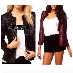 SOLD @caitlinjohn25 Ready for the holidays....these are perfect. Sequin cardi jackets. Color black & wine. Size S, M, L fully lined. Brand new without tags. Jackets & Coats