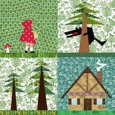 Pequeño rojo Riding Hood Set de 4 papel reconstruido edredón bloque patrones PDF