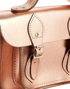 "Image 4 ofCambridge Satchel Exclusive to ASOS Metallic Rose Gold Leather 11"" Satchel"