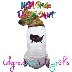 From my State Pride Collection: this USA Pride Dog T-shirt is available now in my Cafepress store! This same design is available on clothing drink ware home goods jewelry and more! http://ift.tt/2fFEIZl  #statepride #pride #lgbtqpride #gaypride #advocate #proudadvocate #maps #rainbow #shopsmall #dogclothes #dogshirts #USAPride #PrideUSA #crafty #designer #forsale #pridegifts #pridedesign #pridedog #LGBTQI #LGBTQ #LGBT #buzzfeedlgbt #queerpride