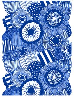 From Marimekko. Love this overlapping arrangement of stylised flowers, line drawings and on colour