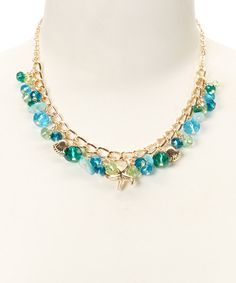 Look at this Turquoise & Goldtone Sea Life Necklace on #zulily today!
