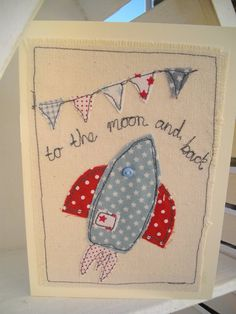 A sweet little boys birthday card made with lovely fabrics, hand stitched using freehand machine embroidery.Mounted onto heavy cream cotton.