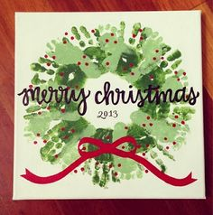 Wreath out of handprints & footprints!  This would look AMAZING on a beautiful ceramic plate, to give to Grandparents for Christmas!  They could use it year after year!
