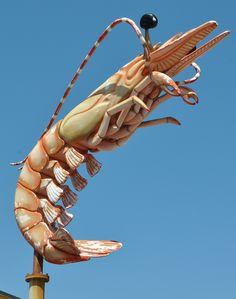 Giant Prawn Shrimp sign above Casey Gaido's Seaside Cafe in Galveston, Texas