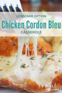Chicken Cordon Bleu Casserole with Low Carb Options Gf Recipes, Dairy Free Recipes, Real Food Recipes, Healthy Recipes, Healthy Meals, Easy Recipes, Chicken Recipes, Frugal Meals, Easy Meals