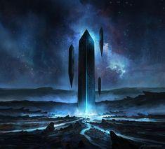 Monolith by JJcanvas, futuristic landscape, digital painting illustration, concept art, sci fi, inspirational art