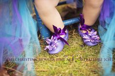 Pretty purple slippers paired with a tulle skirt for a princess party.
