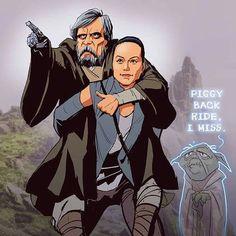 Piggy back ride, I miss. Luke Skywalker, Rey and Yoda from Star Wars.