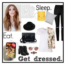 """Eat. Sleep. Get Dressed."" by mikomaws ❤ liked on Polyvore featuring T By Alexander Wang, The Cambridge Satchel Company, Olivia Burton, Kate Spade and Jacques Vert"