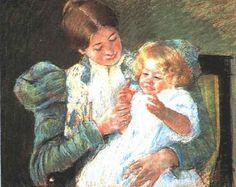 Pattycake, 1897 by Mary Cassatt. Impressionism. genre painting. Denver Art Museum (DAM), Denver, CO, US