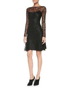 Gabrielle+Long-Sleeve+Lace+Dress+by+Ralph+Lauren+Black+Label+at+Neiman+Marcus.