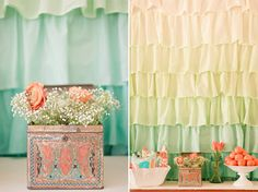 like this color scheme for a girl nursery....mermaid theme.