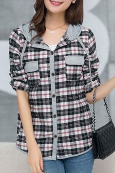 Casual Style Hooded Long Sleeve Plaid Women's ShirtBlouses   RoseGal.com