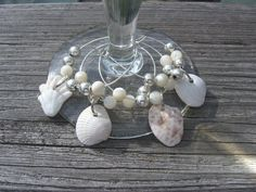 Wineglass Charms Sea Shells and Silver Beads by SanibelSandandShell, $9.99