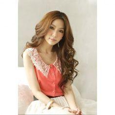$7.54 Stylish Style Scoop Neck Lace Flower Embellished Sleeveless Chiffon Shirt For Women