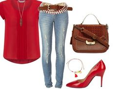 Tenue décontracée - chic. I even have the red shoes but a smaller heel, woohooo