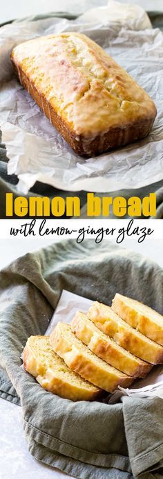 Frugal Food Items - How To Prepare Dinner And Luxuriate In Delightful Meals Without Having Shelling Out A Fortune A Bright And Sweet Lemon Bread With A Zingy Lemon-Ginger Glaze. Easy No Bake Desserts, Lemon Desserts, Lemon Recipes, Easy Desserts, Bread Recipes, Baking Recipes, Delicious Desserts, Dessert Recipes, Lemon Cakes