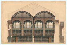 Bibliothèque Sainte-Geneviève, coupe transversale sur la salle de lecture, par Henri Labrouste, fin 1850, Paris.
