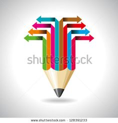 Global business arrow with pencil - stock vector