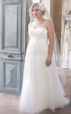 Gorgeous Strapless Empire Ruched Tulle Gown With Criss-cross on Bodice - Adoring Dress