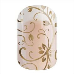 Gold Floral | Jamberry | This clear wrap features a metallic gold filigree design, which looks great when layered over lacquers or solid-color wraps.