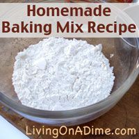 This homemade Bisquick recipe, is easy and inexpensive to make.  Use it for any recipe that calls for baking mix (Bisquick). You can make it in 5 minutes for around $1 use this homemade Bisquick to simplify #regular recipes and cut preparation time. It's from our Dining On A Dime Cookbook. Click here to get it:  http://www.livingonadime.com/store/dining-on-a-dime-cookbook/.