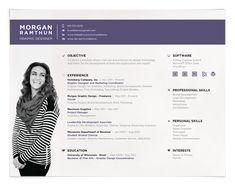 Love this landscape resume format! Great stuff. Resume Design, Resume Style, Creative Resumes, Creative Resume Style, Creative Resume Design, Curriculum Vitae, CV. Personal Resume by Morgan Ramthun, via Behance