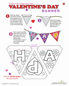 This Happy Valentine's Day banner makes your house or classroom instantly festive for the holiday. Decorate a Happy Valentine's Day banner with your child.
