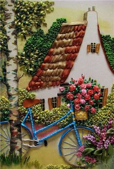 This silk ribbon embroidered cottage scene can also be found on my SILK RIBBON EMBROIDERY board. ~ I hope you enjoy this board. Go forth and pin freely! ;-)