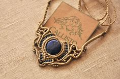 Lapis lazuli macrame necklace ~ boho, delicate, ethnic, tribal , hippie, gorgeous ~ beige waxed threads
