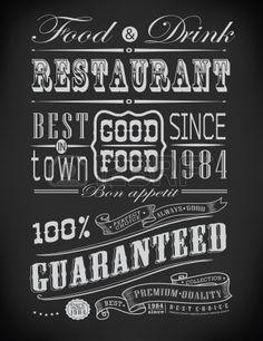 Set van Vintage Retro typografische restaurant elementen / decoratie Stockfoto