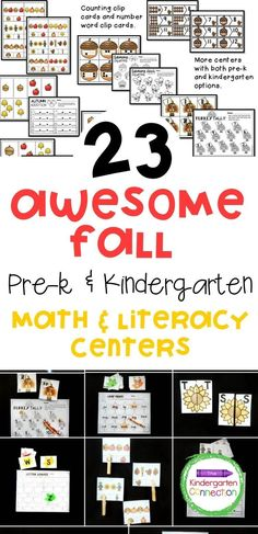 This pack of 12 centers is filled with engaging math and literacy centers for Pre-K and Kindergarten students with a fall theme. A great variety of materials to reach students at different levels of learning during center time and they are so easy to use in the classroom! Lots of great Kindergarten learning activities! #learningactivities #backtoschool #kindergarten #prek #preschool