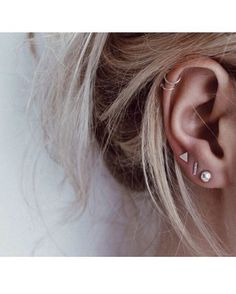 jewels earrings gold silver rose gold triangle line square cartilage real indie hipster mix hoop ring