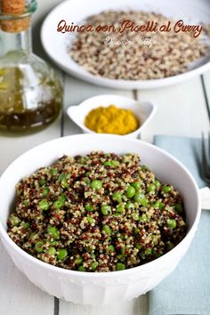 Quinoa con Piselli al Curry Cereal, Curry, Beans, Vegetables, Breakfast, Food, Curries, Meal, Beans Recipes
