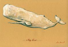 PRINT-Moby Dick- white Whale Sperm cachalot whale print artwork art print…