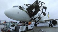 Upon being towed off for maintenance at Berlin SXF Schönefeld Airport, the right wing of this Condor Airbus hit a light pole which collapsed over the aircraft damaging it substantially and injuring the technician in the cockpit Aviation Accidents, Civil Aviation, Circle Of Life, Spacecraft, Berlin, Airplane, Fighter Jets, Transportation, Aircraft