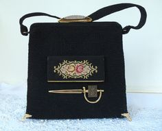 Formal Black silk purse, vintage silk handbag, couture, compact mirror on front, brass adornments.