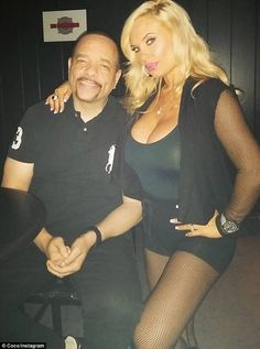 On Sunday as well: Here is another shot of the star with husband Ice T taken over the weekend and she doesn't seem to have much of a bump here either